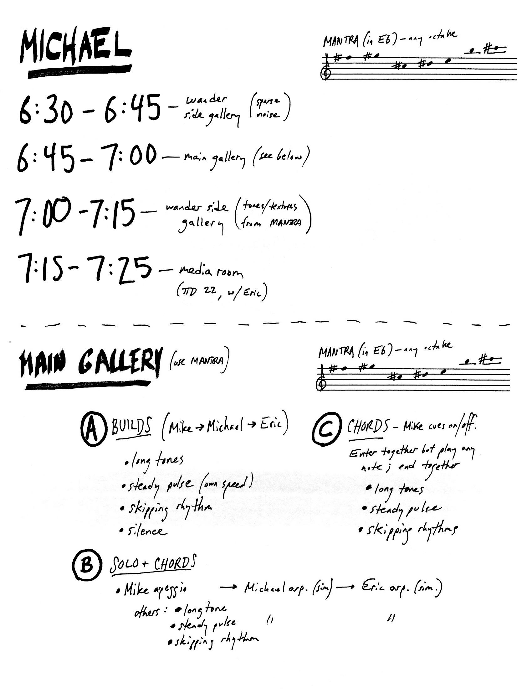(performance schedule - excerpt)