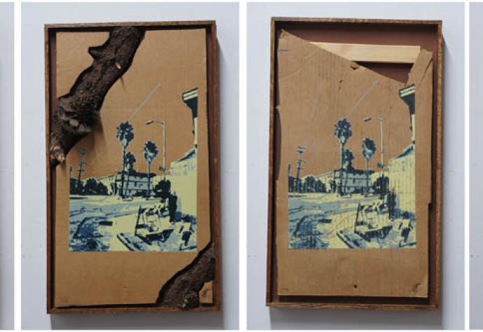 """ALABAMA STREET VARIATIONS"" | SCREENPRINT ON FOUND CARDBOARD, PINE BOX FRAME | 13X24 IN | 25 VARIATIONS | 2013"
